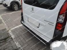 Накладка на бампер Peugeot Partner (2013-2018) NataNiko с загибом