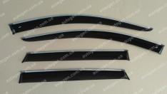 Ветровики Nissan Qashqai 2 (2014->) (с хром молдингом) CT