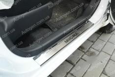 Накладки на пороги Nissan Micra 4 (K13) (2010->) NataNiko