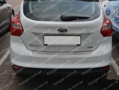Накладка на бампер Ford Focus 3 HB (5 дверей) (2011->) NataNiko с загибом