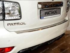 Накладка на бампер Nissan Patrol 6 (Y62) (2010->) NataNiko с загибом