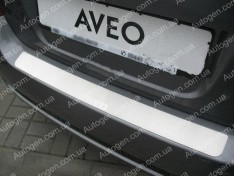 Накладка на бампер Chevrolet Aveo T250 SD (2006-2011) NataNiko ровная