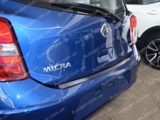 Накладка на бампер Nissan Micra 4 (K13) (2010->) NataNiko ровная