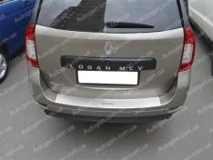 Накладка на бампер Renault Logan 2 MCV (универсал) (2013->) NataNiko с загибом