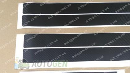 NataNiko пленки Наклейки на пороги Volkswagen Touareg 2 (2010-2018) черный карбон NataNiko