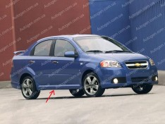 Накладки на пороги (обвес) Chevrolet Aveo T250 SD (2006-2011) (Design GM) (стекловолокно)