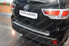 Накладка на бампер Toyota Highlander 3 (2014-2019) NataNiko с загибом (без логотипа)
